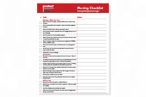 Protect Your Move Checklist